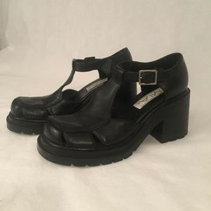 MIA Hazel Black Leather Ankle Strap Clog Shoes
